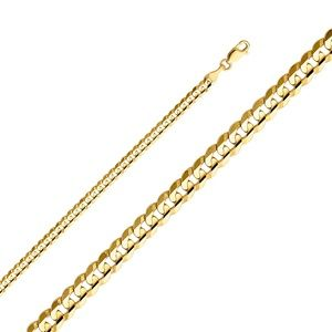 14k Yellow 4 mm Cuban Concave Chain - 24""